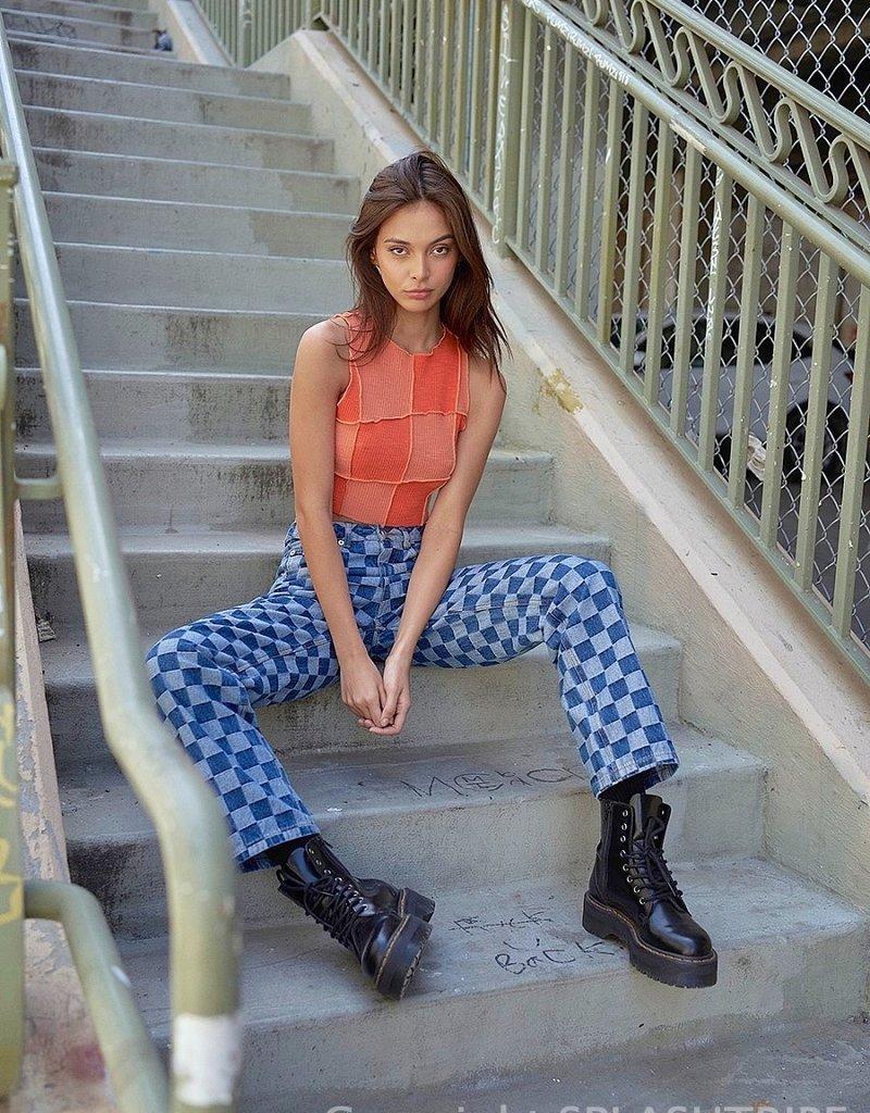 Checkerboard Straight Leg Jeans
