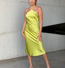 Miranda Satin Halter Midi Dress
