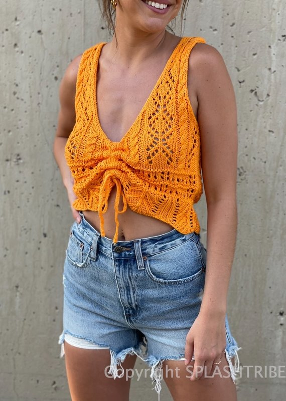 Ibiza Crochet Cinched Front Tank Top