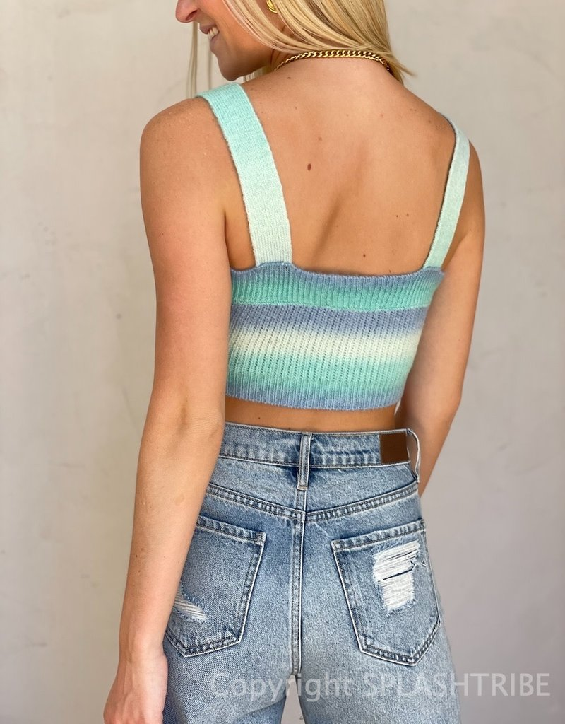 Pastel Rainbow Sweater Crop Top
