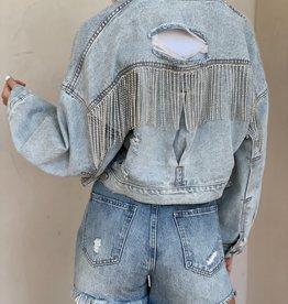 Underwood Rhinestone Fringe Denim Jacket