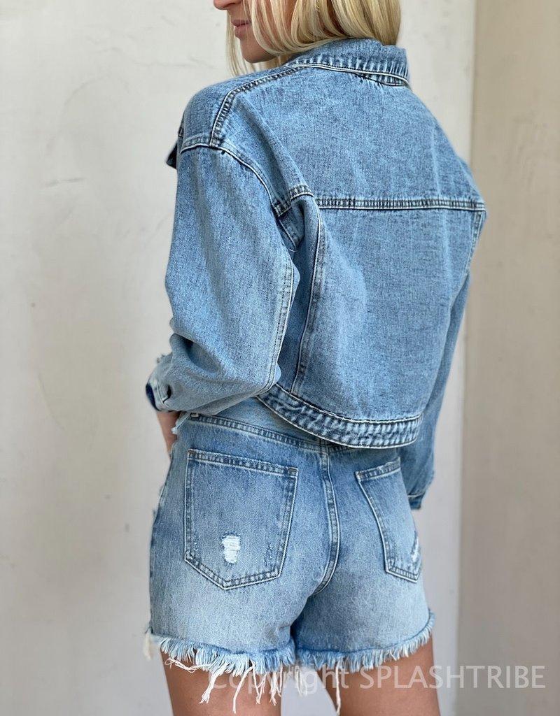 Reba Fringe Crop Denim Jacket