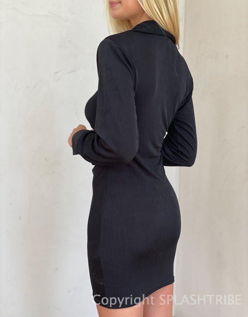Chloe Shimmer Button Down Long Sleeve Mini Dress