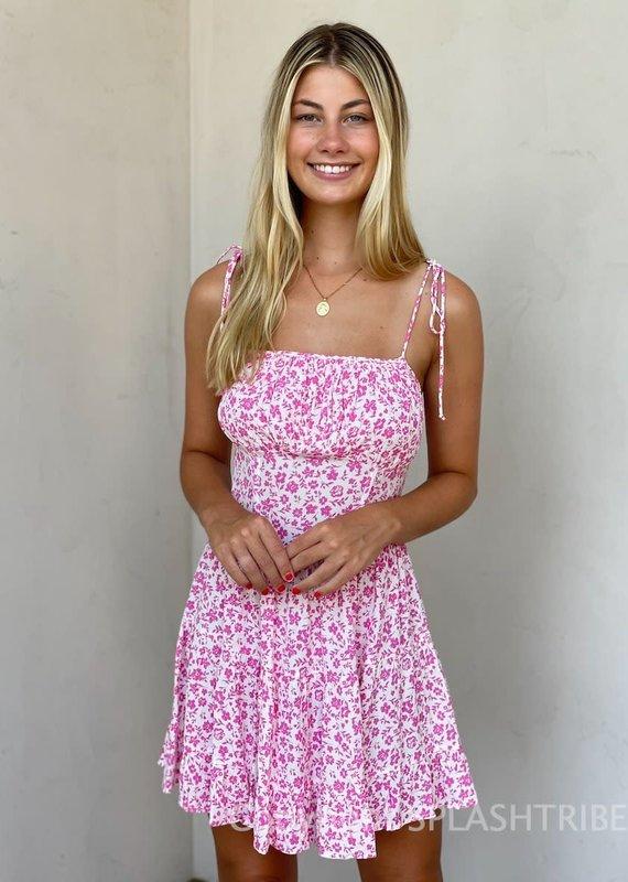 Gracie Floral Tie Strap Mini Dress