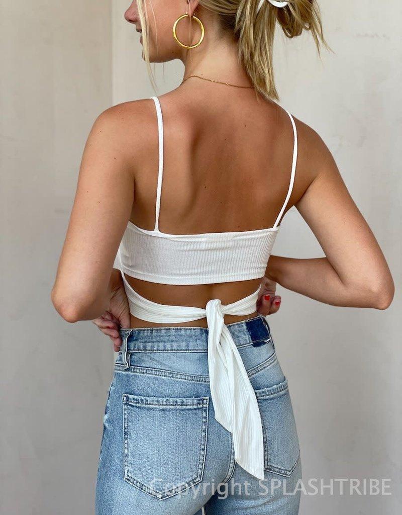 Aubrey Ribbed Tie Back Crop Top