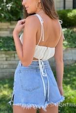 Cassie Shoulder Tie Wrap Crop Top
