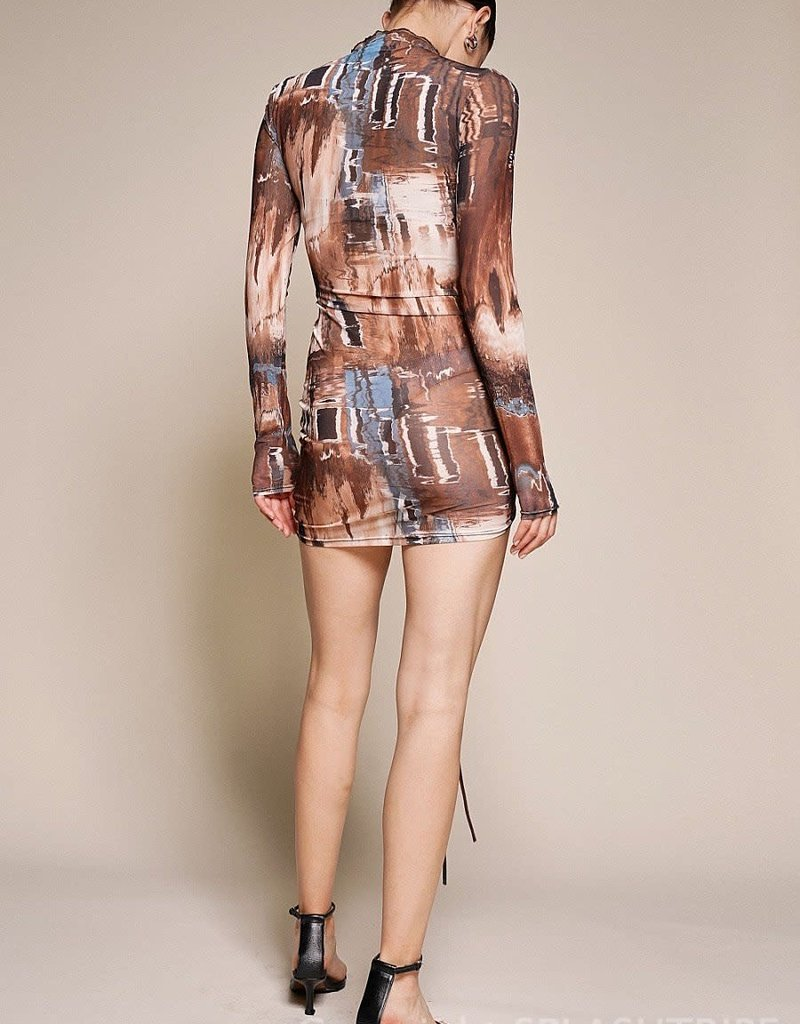 Tallie Long Sleeve Mesh Mini Dress