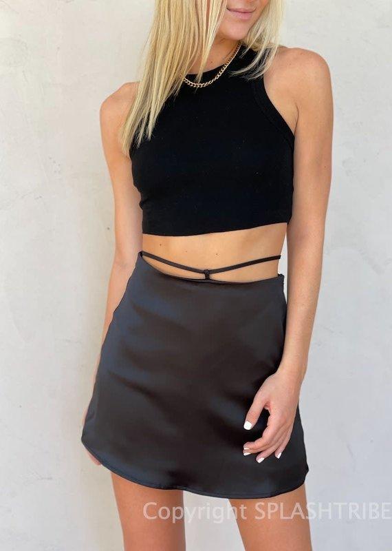Satin Waist Tie Mini Skirt