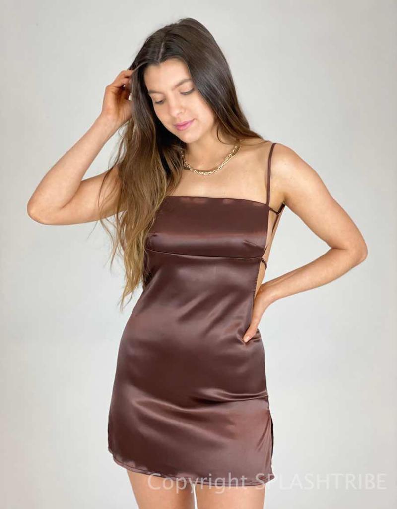 Satin Backless Mini Dress