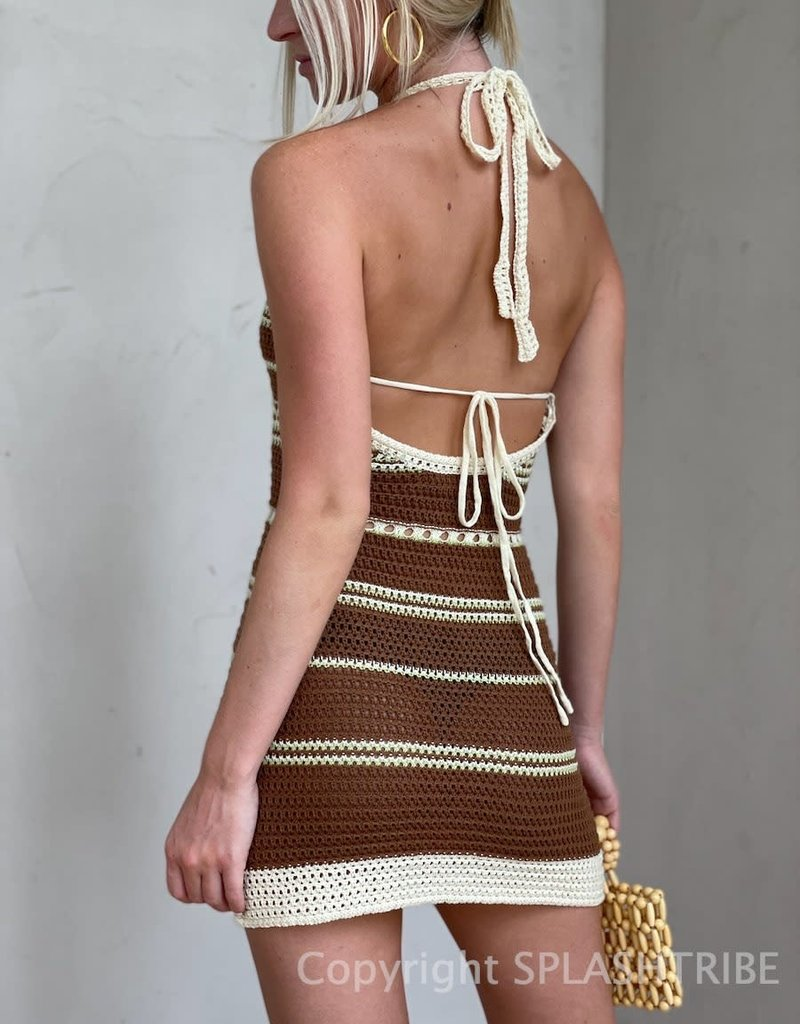 Mykonos Crochet Stripe Halter Mini Dress