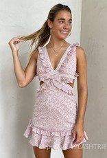 Lilly Ditsy Floral Lace Up Back Mini Dress