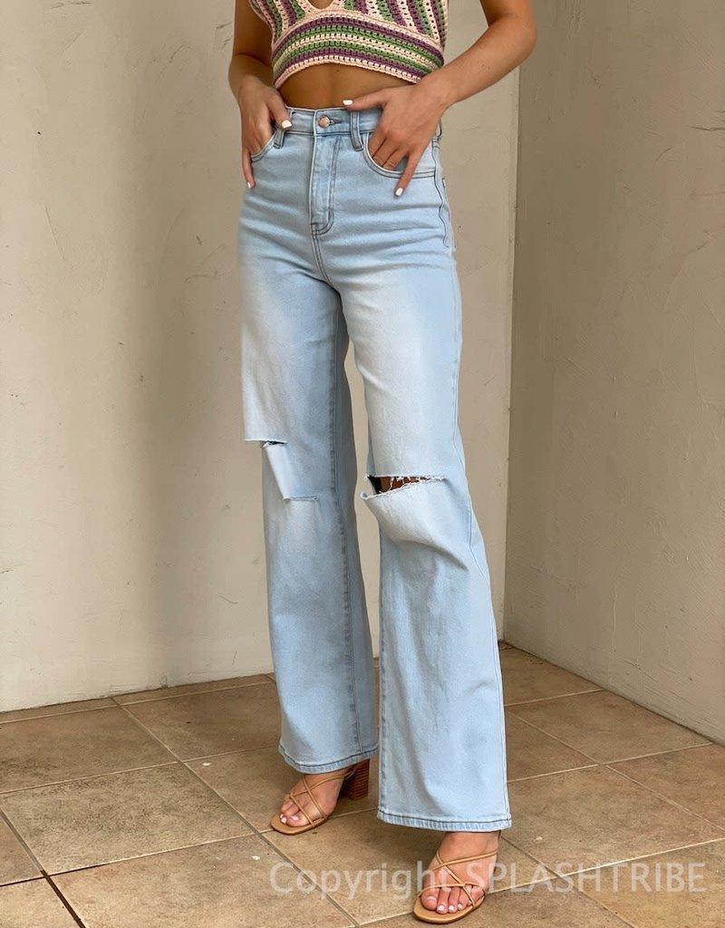 High Waist Knee Slit Wide Leg Jeans