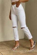High Waist Cuffed Boyfriend Jeans
