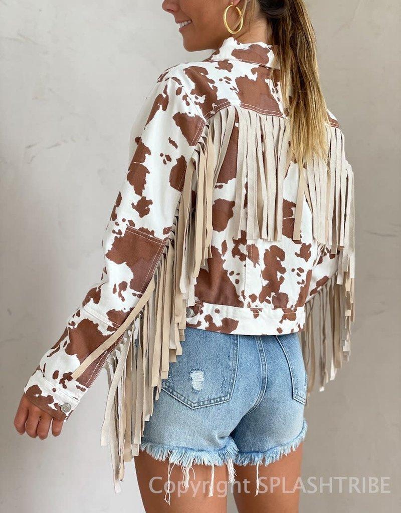 Plano Cow Print Fringe Jacket