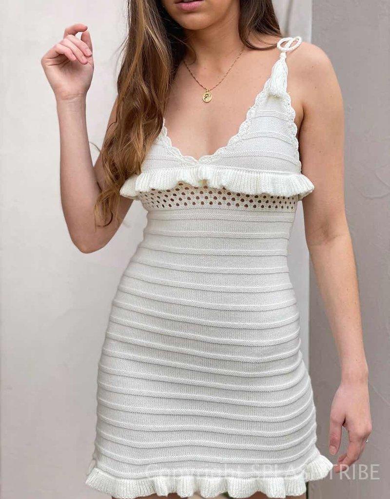 Knit Crochet Tie Strap Dress