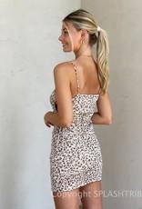 Mesh Cheetah Keyhole Cinched Mini Dress