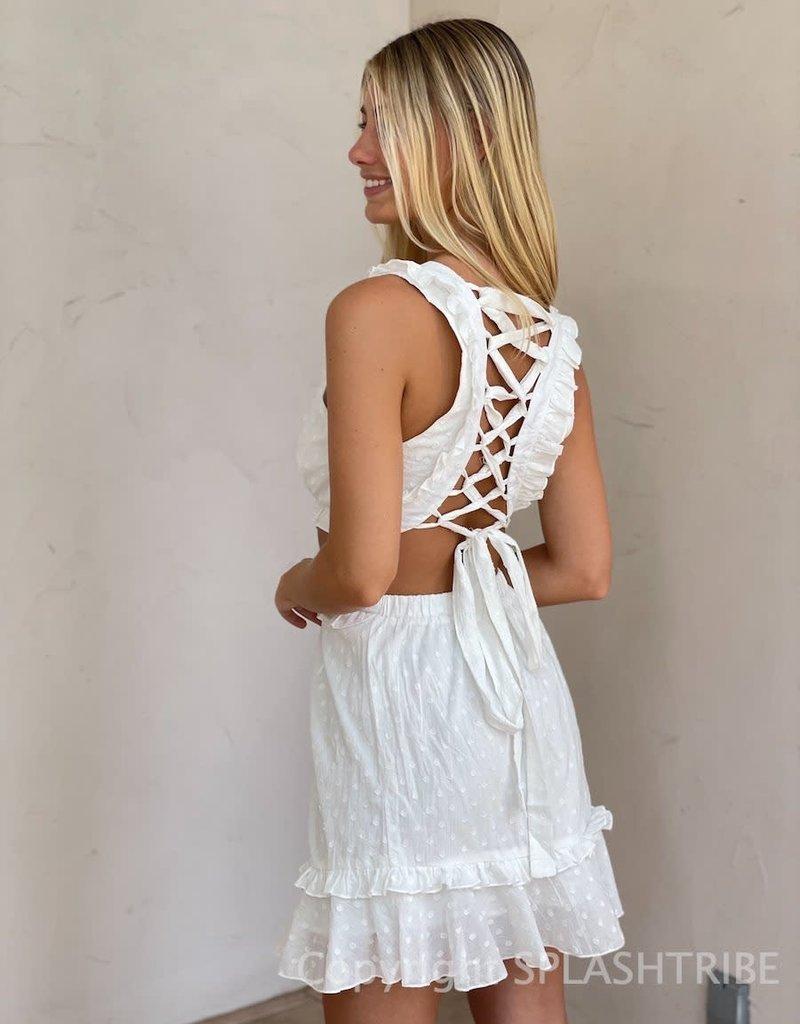 Textured Dot Lace Up Back Mini Dress