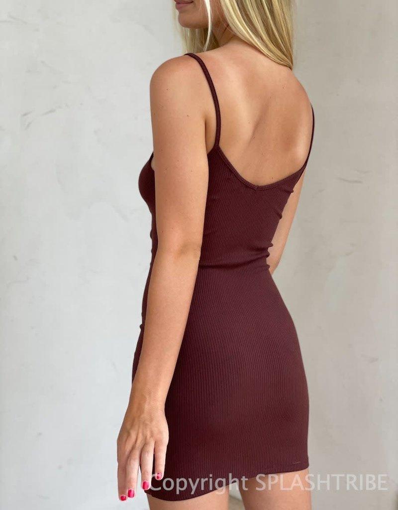 Ribbed Asymmetrical Button Front Mini Dress