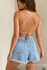 Mixed Yarn Tie Back Crop Top
