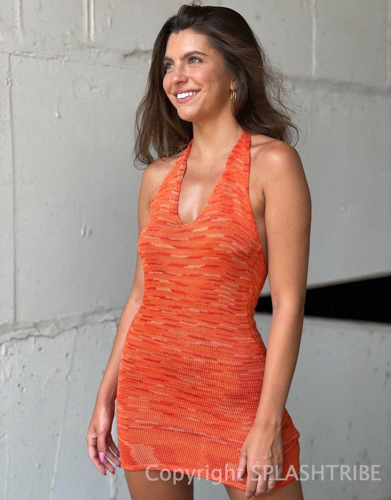 Outer Space Dye Halter Mini Dress