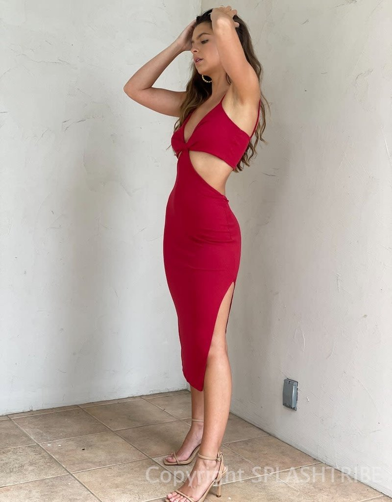 The Perfect Ribbed Cut Out Midi Dress