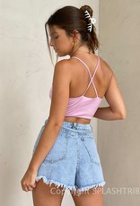 Tie Front Cut Out Cami Crop Top