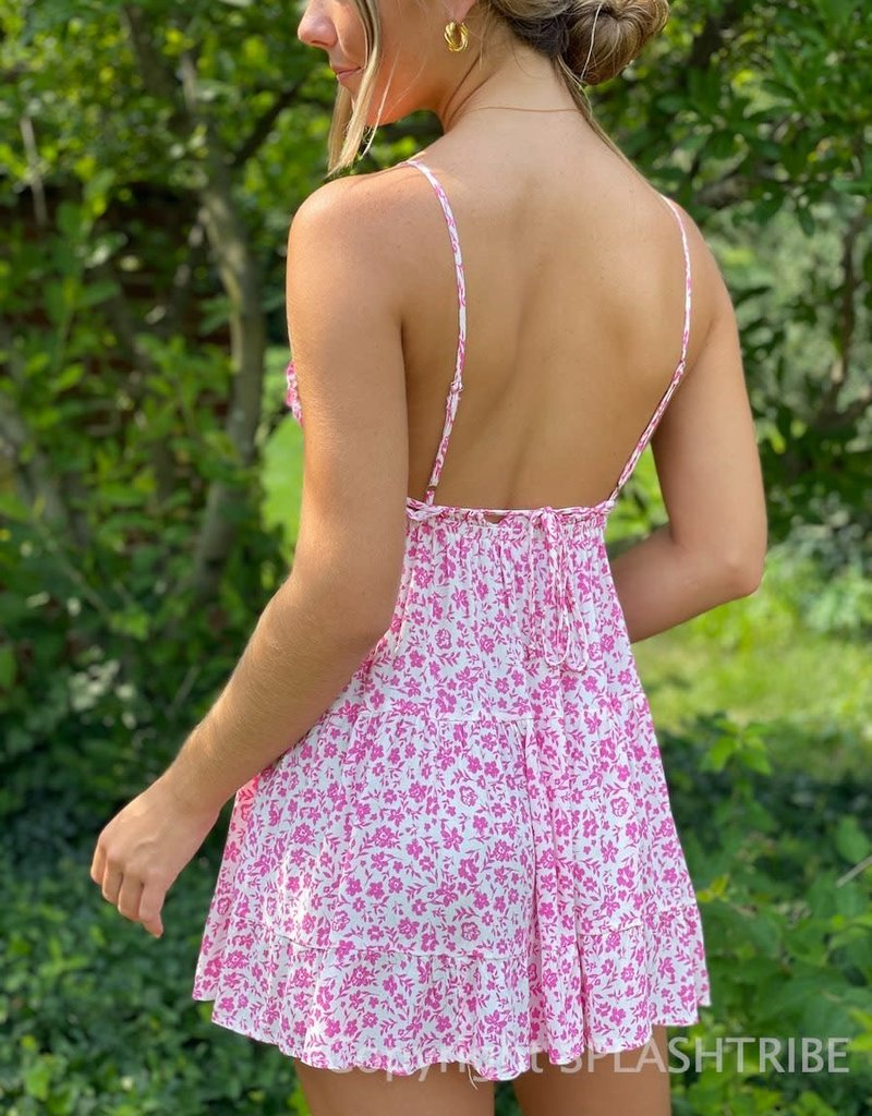 Lola Floral Ruffle Trim Cut Out Mini Dress