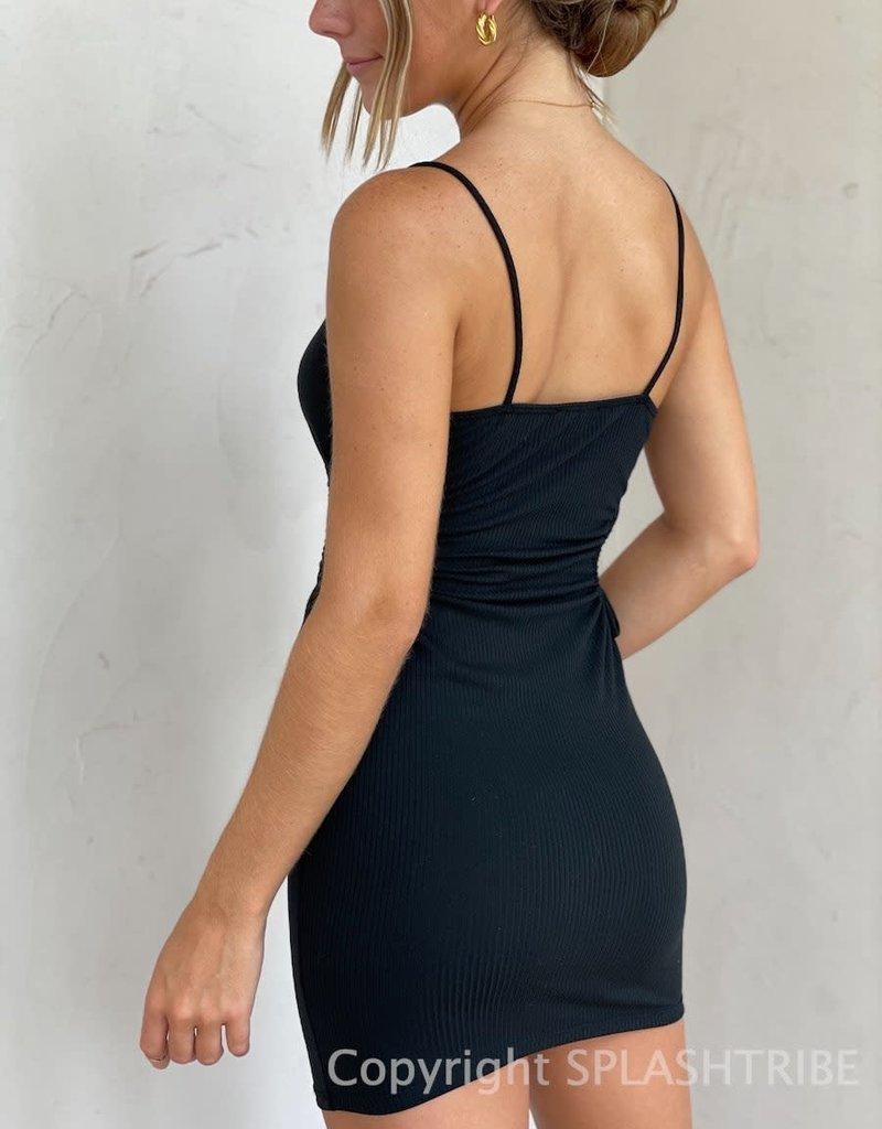 Arden Side Cutout Ribbed Mini Dress