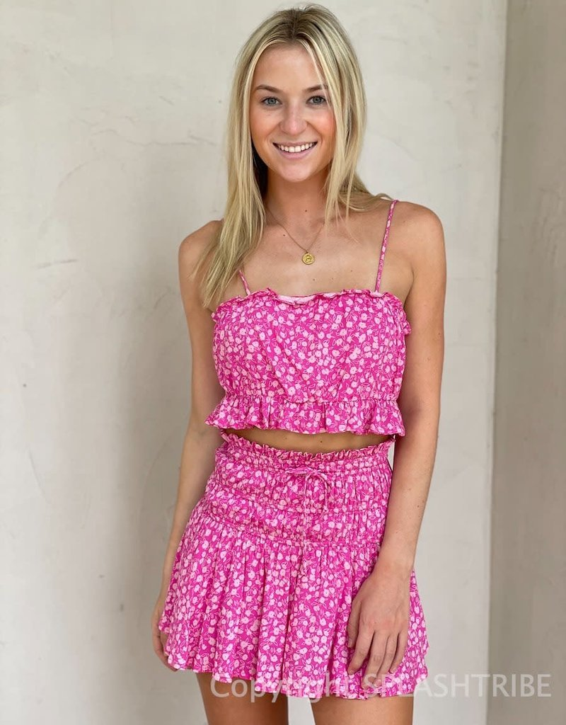 Abby Floral Ruffle Top and Mini Skirt Set