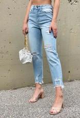 Super High Rise Distressed Hem Cropped Straight Jean