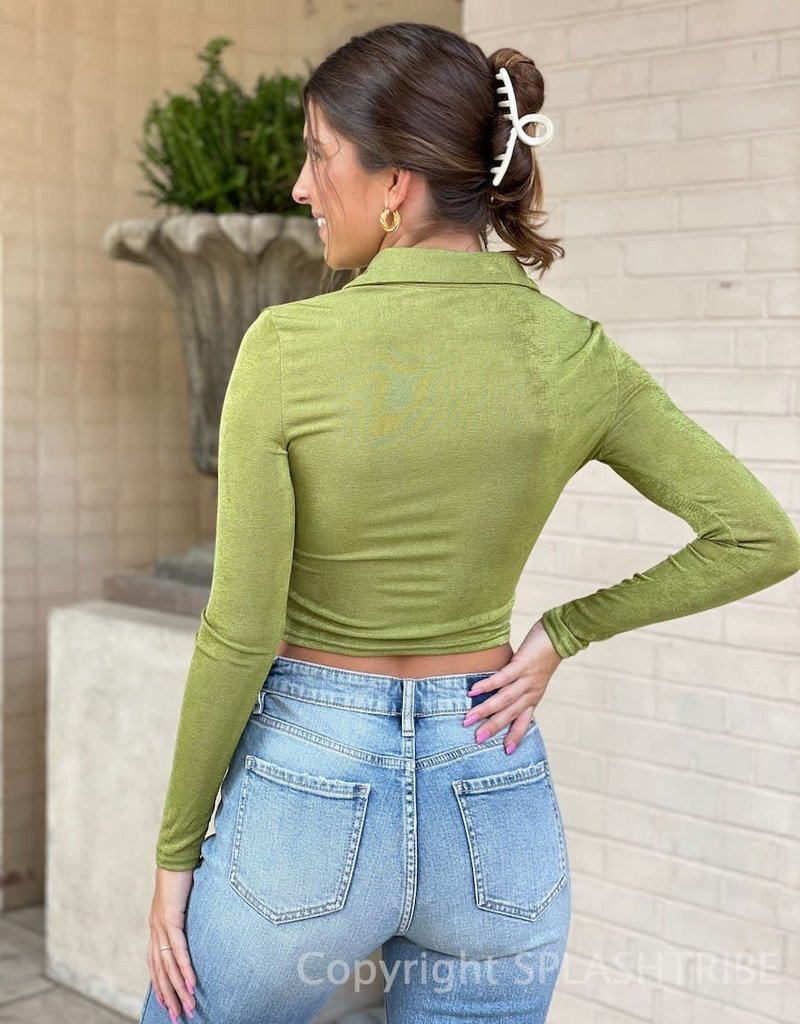 Paxton Shimmer Ruched Long Sleeve Crop Top