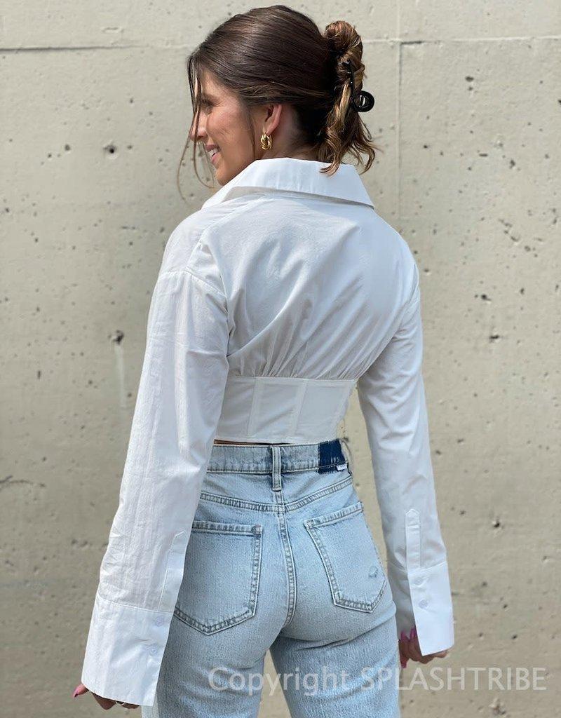 Daphne Shiring Long Sleeve Corset Top
