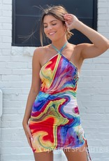 After Party Marble Halter Mini Dress