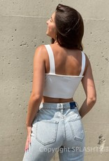 Rib Embroidered Butterfly Crop Tank