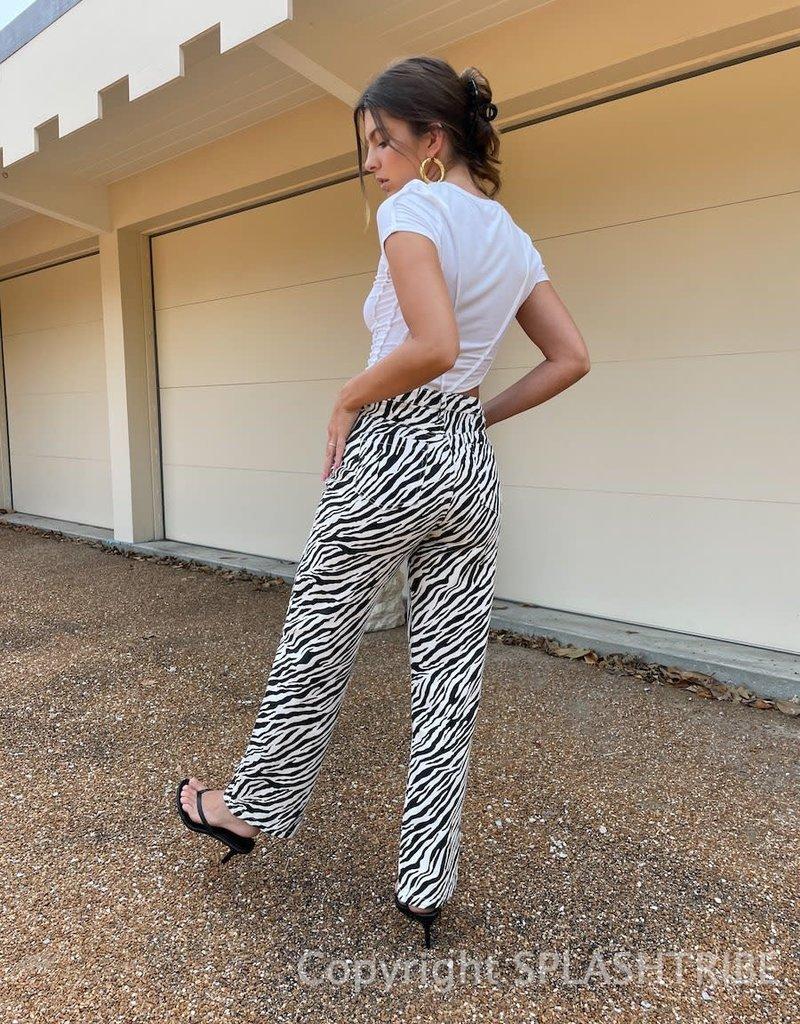 High Rise Zebra Straight Leg Jeans