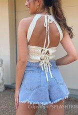 Textured Cable Knit Halter Top