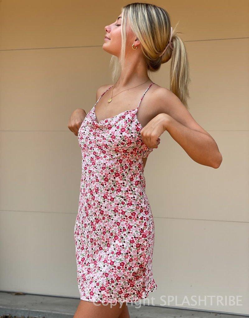 Gabrielle Floral Cowl Neck Mini Dress