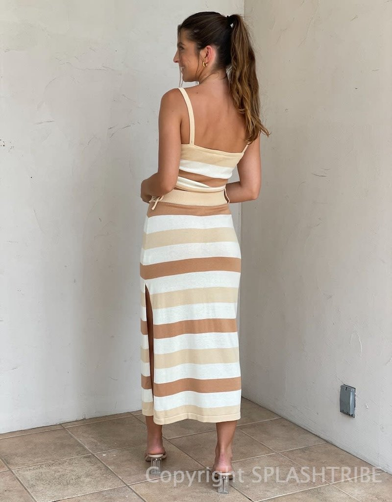 Rosemary Striped Crop Top Midi Skirt Set