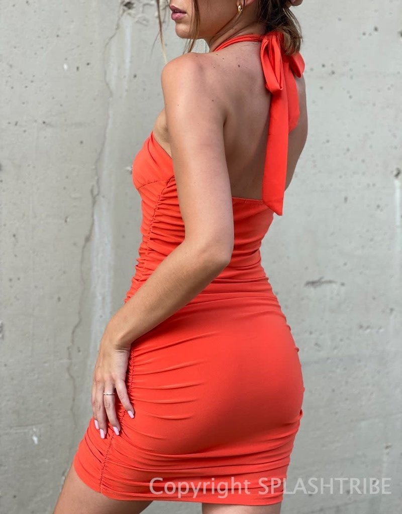 Alyssa Ruched Halter Mini Dress