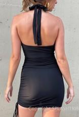 Makaila Crossover Halter Mini Dress