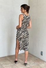 Zebra Criss Cross Cutout Midi Dress