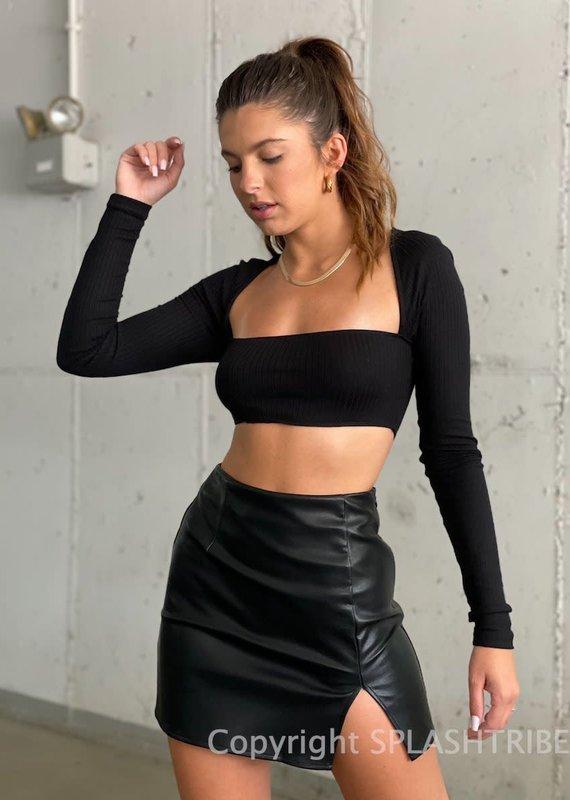 High Rise Faux Leather Mini Skirt