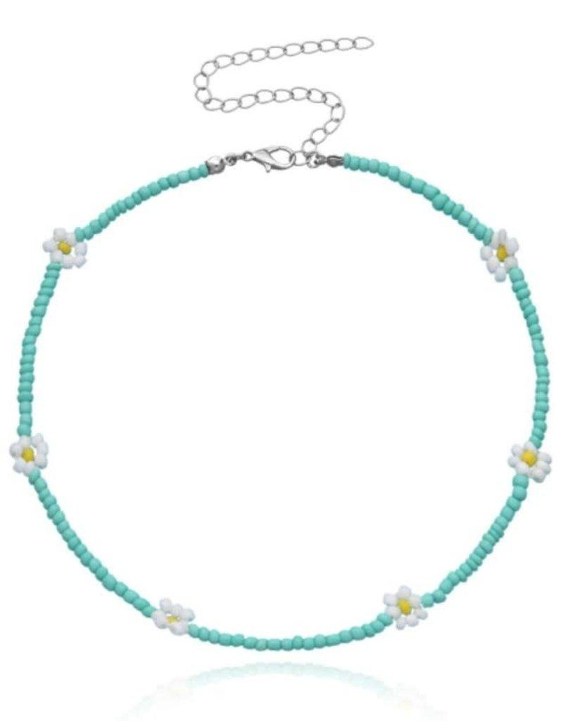 Daisy Beaded Choker Turquoise