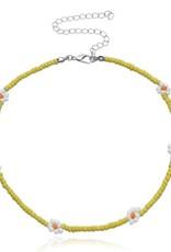Daisy Beaded Choker Yellow
