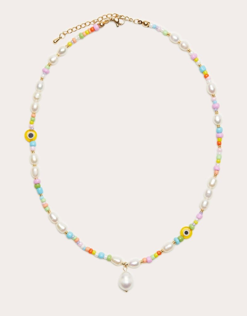 Beaded Pearl Drop Necklace Pastel