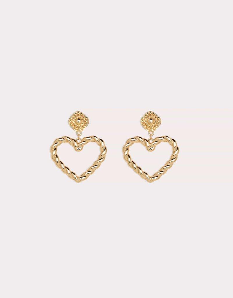 Oversized Heart Earrings Gold