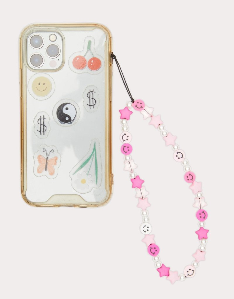 Beaded Phone Strap Pink