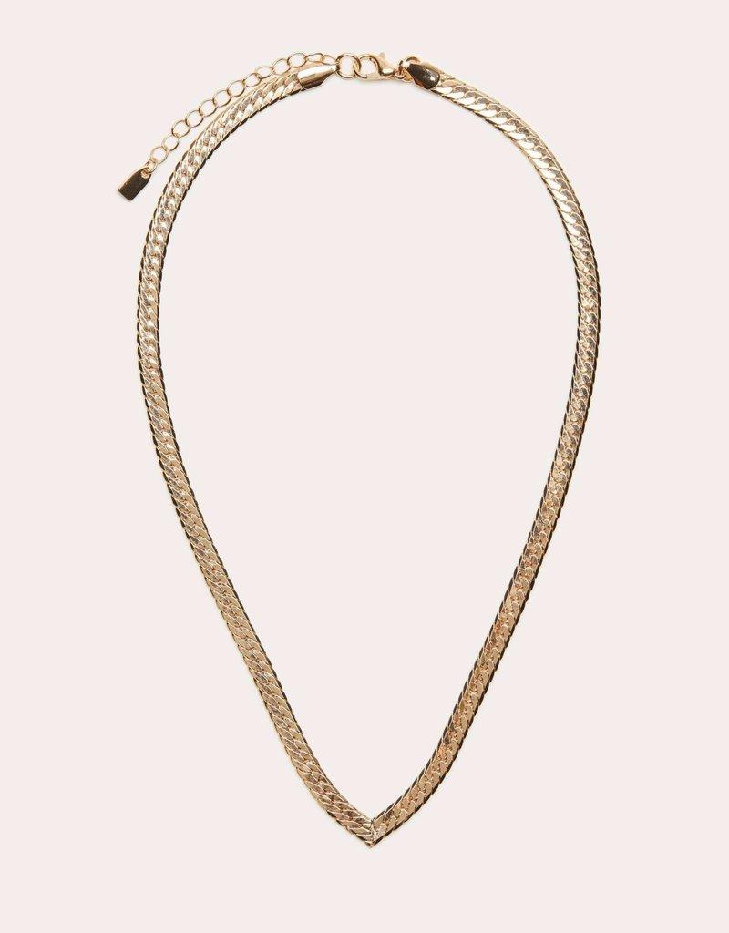 V Herringbone Necklace Gold