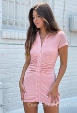 Sami Shimmer Ruched Botton Front Mini Dress