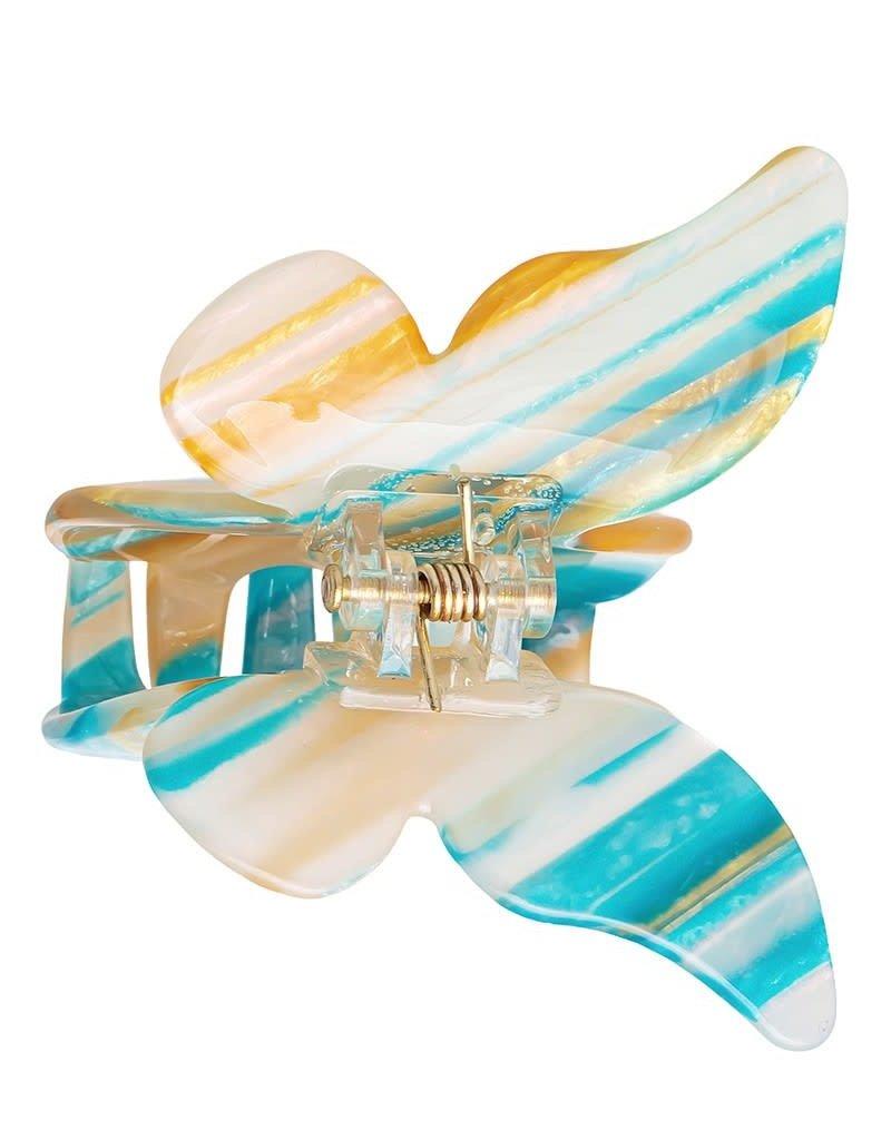 Butterfly Hair Claw Clip Blue Orange